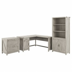 """Kathy Ireland Home by Bush® Furniture Cottage Grove 60""""W L Shaped Desk with Lateral File Cabinet and 5 Shelf Bookcase, Cottage White, Standard Delivery"""