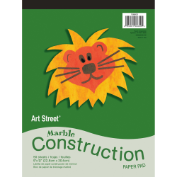 """Art Street® Construction Paper, 9"""" x 12"""", 100% Recycled, Marble Assorted, Pad Of 50 Sheets"""