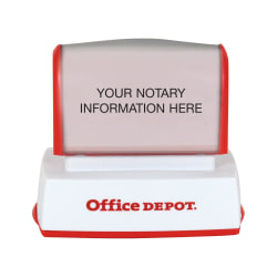 "Custom Office Depot® Brand Pre-Inked Notary Stamp, 11/16"" x 2"" Impression"