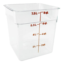 "Cambro Food Storage Container, 9""H x 8 3/4""W x 8 3/4""D, 8 Qt, Clear"