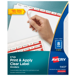 Avery® Print & Apply Clear Label Dividers With Index Maker® Easy Apply™ Printable Label Strip And White Tabs, 8-Tab, Box Of 5 Sets