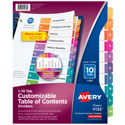 Avery® Ready Index® 20% Recycled Table Of Contents Dividers, 1-10 Tab, Multicolor