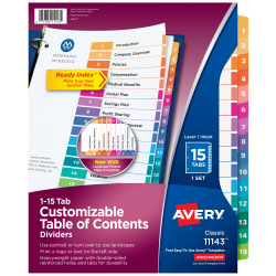 Avery® Ready Index® 20% Recycled Table Of Contents Dividers, 1-15 Tab, Multicolor