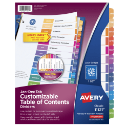 Avery® Ready Index® Table Of Contents Dividers, Jan.-Dec. Tab, Multicolor