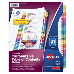 Avery® Ready Index® 20% Recycled Table Of Contents Dividers, 1-31 Tab, Multicolor