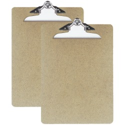 """OIC® 100% Recycled Hardboard Clipboards, Letter Size, 9"""" x 12 1/2"""", Brown, Pack Of 2"""