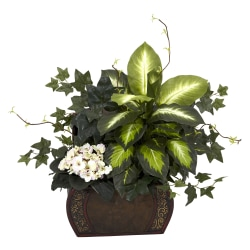 "Nearly Natural 20""H Silk African Violet And Dieffenbachia Arrangement With Chest, Green"