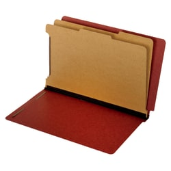 "Pendaflex® Pressboard End-Tab Classification Folders, 2 1/2"" Expansion, Legal Size, Red, Box Of 10 Folders"