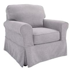 Ave Six Ashton Slipcover Chair, Fog/Brown