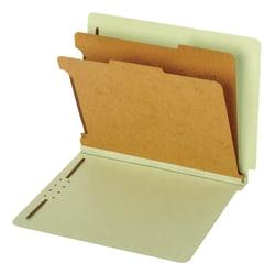 "Pendaflex® End-Tab Classification Folders, 2 1/2"" Expansion, 8 1/2"" x 11"", 2 Dividers, Light Green, Box Of 10 Folders"
