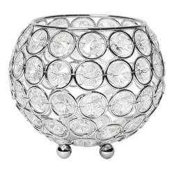 "Elegant Designs Elipse Crystal Bowl, 4-1/4"" x 4-3/4"", Chrome"