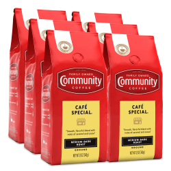 Community Coffee Arabica Ground Coffee, Cafe Special, 12 Oz, Carton Of 6 Bags