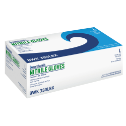 Boardwalk Disposable Nitrile General-Purpose Gloves, Large, Blue, Box Of 100 Gloves