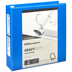 "Office Depot® Brand Heavy-Duty D-Ring View Binder, 2"" Rings, Blue"