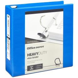 "Office Depot® Brand Heavy-Duty D-Ring View Binder, 3"" Rings, Blue"