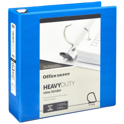 "Office Depot® Brand Heavy-Duty View 3-Ring Binder, 3"" D-Rings, 49% Recycled, Blue"