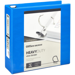 "Office Depot® Brand Heavy-Duty View 3-Ring Binder, 4"" D-Rings, Blue"