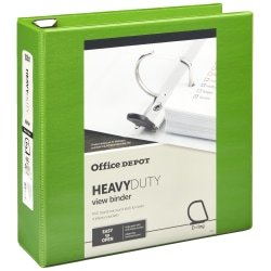 "Office Depot® Brand Heavy-Duty View 3-Ring Binder, 3"" D-Rings, 49% Recycled, Army Green"