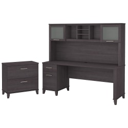 """Bush Furniture Somerset 72""""W Office Desk With Hutch And Lateral File Cabinet, Storm Gray, Standard Delivery"""