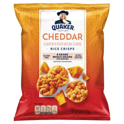 Quaker Cheddar Cheese Popped Rice Crisps, 0.67 Oz, Pack Of 60