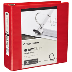 "Office Depot® Brand Heavy-Duty View 3-Ring Binder, 3"" D-Rings, 49% Recycled, Red"