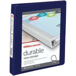 "Office Depot® Brand Durable View 3-Ring Binder, 1"" D-Rings, 60% Recycled, Blue"