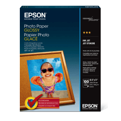 """Epson® Glossy Photo Paper, Letter Size (8 1/2"""" x 11""""), Pack Of 100 Sheets"""