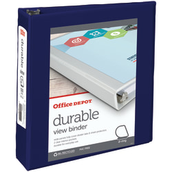 "Office Depot® Brand Durable View 3-Ring Binder, 2"" D-Rings, 60% Recycled, Blue"