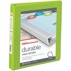 "Office Depot® Brand Durable View 3-Ring Binder, 1"" D-Rings, 60% Recycled, Green"