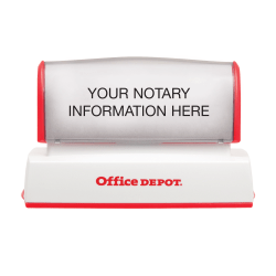 """Custom Office Depot® Brand Pre-Inked Notary Stamp, 1-3/16"""" x 2-3/4 Impression"""