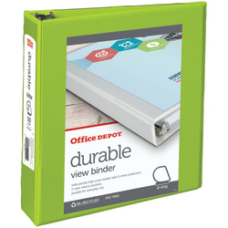 """Office Depot® Brand Durable View 3-Ring Binder, 2"""" D-Rings, 60% Recycled, Green"""