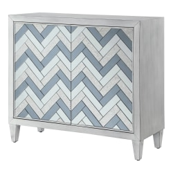 """Powell Wraich 2-Door Console Table, 34-3/4""""H x 15""""W x 40""""D, Silver/Gray"""