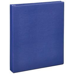 """Just Basics Economy Round-Ring Nonview Binder, 1"""" Rings, 64% Recycled, Blue"""