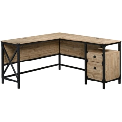 "Sauder® Steel River 60""W L-Shaped Desk, Milled Mesquite"