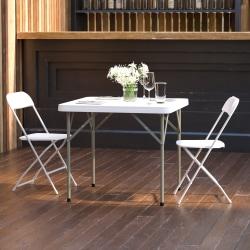 """Flash Furniture Square Plastic Folding Table, 29-1/2""""H x 34-1/4""""W x 34-1/4""""D, Granite White"""