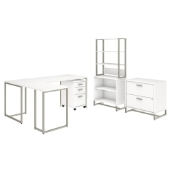 """kathy ireland® Office by Bush Business Furniture Method 72""""W L Shaped Desk with 30""""W Return, File Cabinets and Bookcase, White, Premium Installation"""