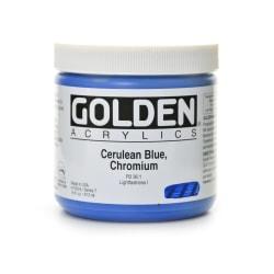 Golden Heavy Body Acrylic Paint, 16 Oz, Cerulean Blue Chromium