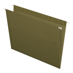 Pendaflex® Hanging Folders, Letter Size, 100% Recycled; Standard Green, Box Of 25 Folders