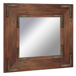 "PTM Images Framed Mirror, Bronze Accent, 20""H x 20""W, Black"