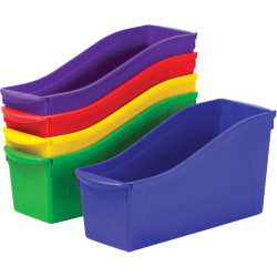 "Storex Book Bin Set - 1 Compartment(s) - 12.6"" Height x 5.3"" Width x 14.3"" Depth - Recycled - Red, Green, Blue, Purple, Yellow - Plastic - 5 / Set"