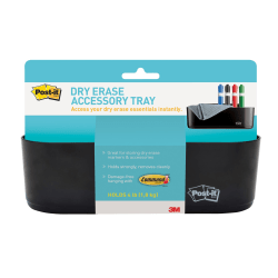 "Post-it® Dry Erase Accessory Tray, Deftray, 8 5/8"" x 3 1/8"" x 2 15/16"", Black"
