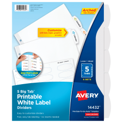 """Avery® Easy Peel® Pop-up Edge® Label Dividers, 8 1/2"""" x 11"""", 5-Tab, White, Pack Of 4"""