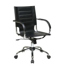 Ave Six Trinidad Vinyl Mid-Back Office Chair, Black/Silver