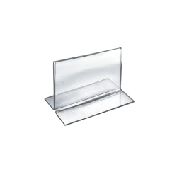 """Azar Displays Double-Foot Acrylic Sign Holders, 3 1/2"""" x 5"""", Clear, Pack Of 10"""