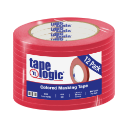 "Tape Logic® Color Masking Tape, 3"" Core, 0.25"" x 180', Red, Case Of 12"