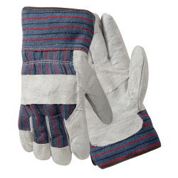 R3® Safety Large Leather Palm Gloves, Gray/Blue/Red