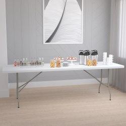 "Flash Furniture Plastic Folding Table, 29""H x 30""W x 96""D, Granite White"