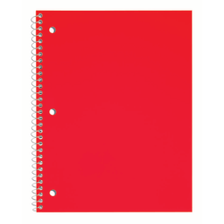 "Just Basics® Poly Spiral Notebook, 8 1/2"" x 10 1/2"", Wide Ruled, 140 Pages (70 Sheets), Red"