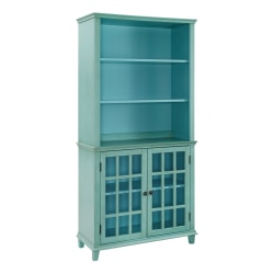 """Linon Home Decor Products Kacey 36""""W Display Cabinet, Turquoise"""