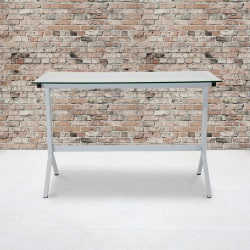 """Flash Furniture 44""""W Glass Computer Desk With Metal Frame, Clear/White"""